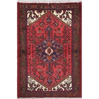 "Hamedan Tribal Geometric Hand-Knotted Wool Persian Oriental Area Rug - 4'9"" x 3'3"""