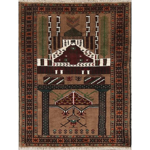 """Balouch Geometric Hand-Knotted Wool Persian Oriental Area Rug - 3'8"""" x 2'8"""""""