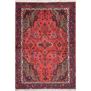 "Hamedan Geometric Hand-Knotted Wool Persian Oriental Area Rug - 4'8"" x 3'2"""