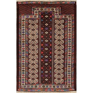 """Balouch Geometric Hand-Knotted Wool Persian Oriental Area Rug - 3'11"""" x 2'8"""""""