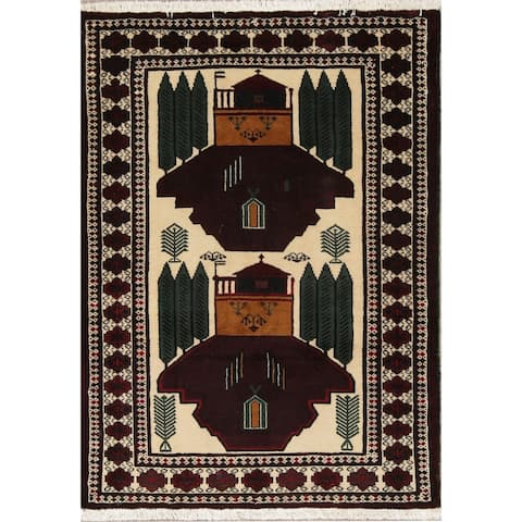 """Balouch Geometric Hand-Knotted Wool Persian Oriental Area Rug - 4'0"""" x 2'11"""""""