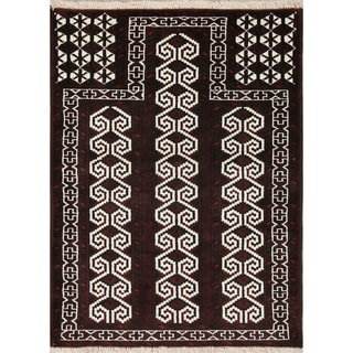 """Balouch Geometric Hand-Knotted Wool Persian Oriental Area Rug - 3'8"""" x 2'9"""""""