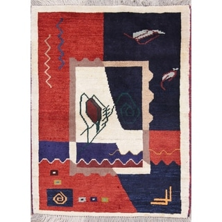 """Gabbeh Geometric Hand-Knotted Wool Persian Oriental Area Rug - 3'8"""" x 2'10"""""""