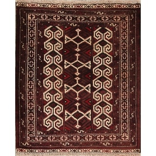 """One of a Kind Balouch Geometric Hand-Knotted Wool Persian Oriental Rug - 3'4"""" x 2'10"""" Square"""