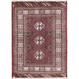 "Balouch Geometric Hand-Knotted Wool Persian Oriental Area Rug - 2'10"" x 2'1"""
