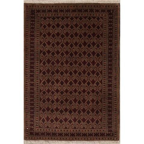 """Balouch All-Over Geometric Hand-Knotted Wool Persian Area Rug - 3'9"""" x 2'7"""""""