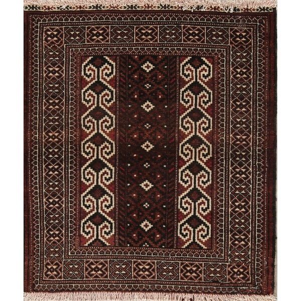 """Balouch Geometric Hand-Knotted Wool Persian Oriental Rug - 3'1"""" x 2'9"""" Square"""