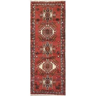 "One of a Kind Gharajeh Geometric Handmade Wool Persian Oriental Rug - 6'0"" x 2'2"" Runner"