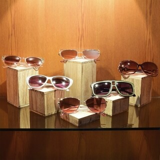 Ikee Design Wooden 6 Pcs Square Risers Accessories Stand (Oak)