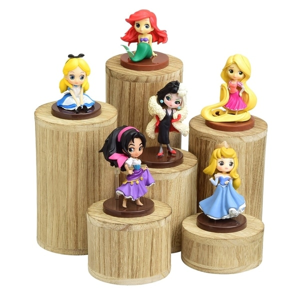 Ikee Design Wooden 6 Pcs Round Risers Accessories Stand