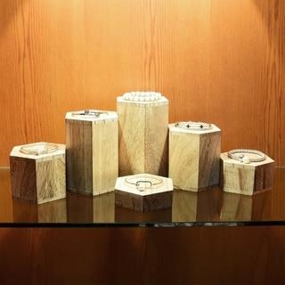 Ikee Design Wooden 6 Pcs Hexagon Risers Accessories Stand - N/A (Oak - Wood)