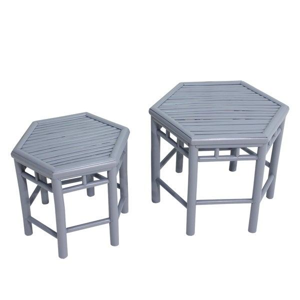 Havenside Home Naukati Bay Grey Bamboo End Tables (Set of 2)