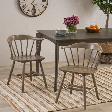 Ahart Farmhouse Spindle Back Rubberwood Dining Chairs (Set of 2) by Christopher Knight Home