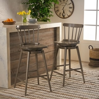 "Ahart Farmhouse Spindle Back 30"" Rubberwood Swivel Barstools (Set of 2) by Christopher Knight Home"