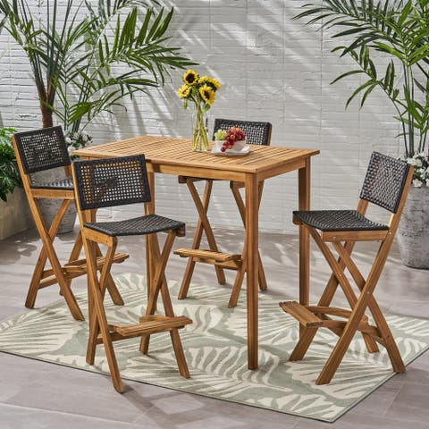 """Polaris Outdoor 45"""" Rectangular 5 Piece Wood and Wicker Bar Height Set by Christopher Knight Home"""