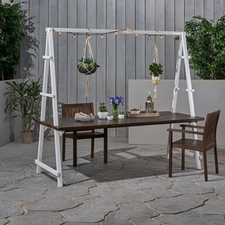 "Huckleberry Outdoor Acacia Wood 88.5"" Dining Table with Plant Hanger by Christopher Knight Home - N/A"