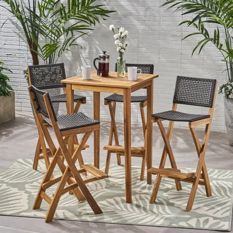 """Polaris Outdoor 26"""" Square 5 Piece Wood and Wicker Bar Height Set by Christopher Knight Home"""