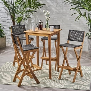 "Polaris Outdoor 26"" Square 5 Piece Wood and Wicker Bar Height Set by Christopher Knight Home"