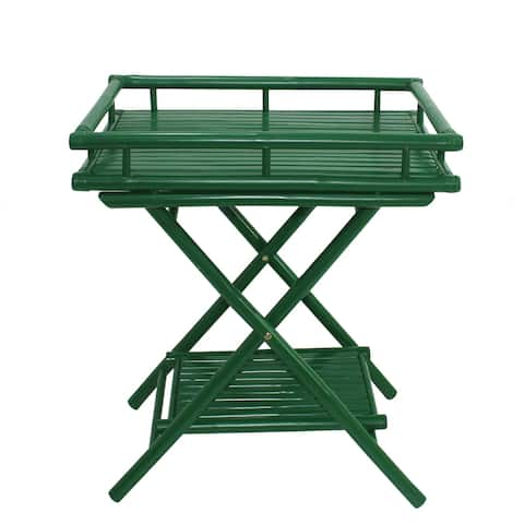 Bamboo Butler Table With Removable Serving Tray - Green