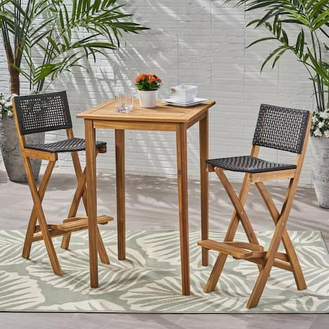 "Polaris Outdoor 26"" Square 3 Piece Wood and Wicker Bar Height Set by Christopher Knight Home"