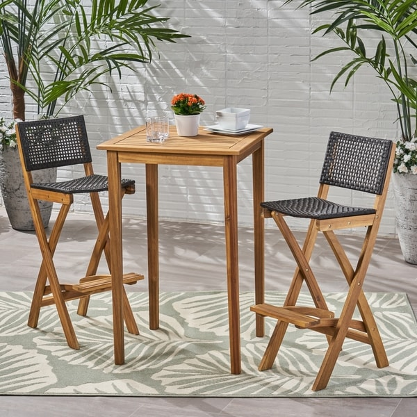 """Polaris Outdoor 26"""" Square 3 Piece Wood and Wicker Bar Height Set by Christopher Knight Home"""