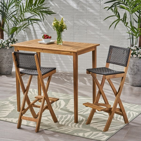 "Polaris Outdoor 45"" Rectangular 3 Piece Wood and Wicker Bar Height Set by Christopher Knight Home"