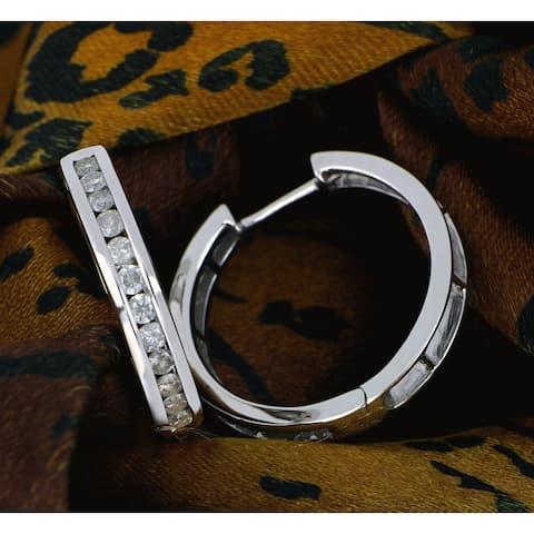 1ct TDW Dimaond Hoop Earrings in Sterling Silver by De Couer