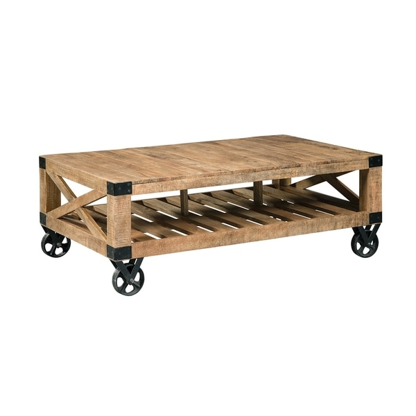 Attrayant Shop Hallie Industrial Brown Mango Wood Black Iron Wheeled Coffee Table    On Sale   Free Shipping Today   Overstock   27659949