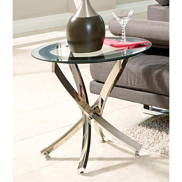 Porch & Den Lenore Glass and Chrome Round End Table