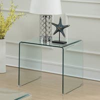 Silver Orchid Gish Spiro Clear Glass End Table