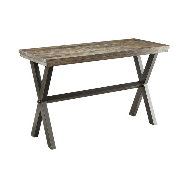 Ferndale Dark Brown and Black Wood and Metal Rustic Sofa Table