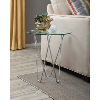 Devlin Glass and Metal Accent Table