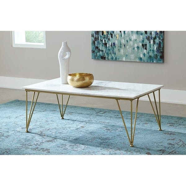 Shop Dorsey White Marble And Goldtone Coffee Table On Sale Free