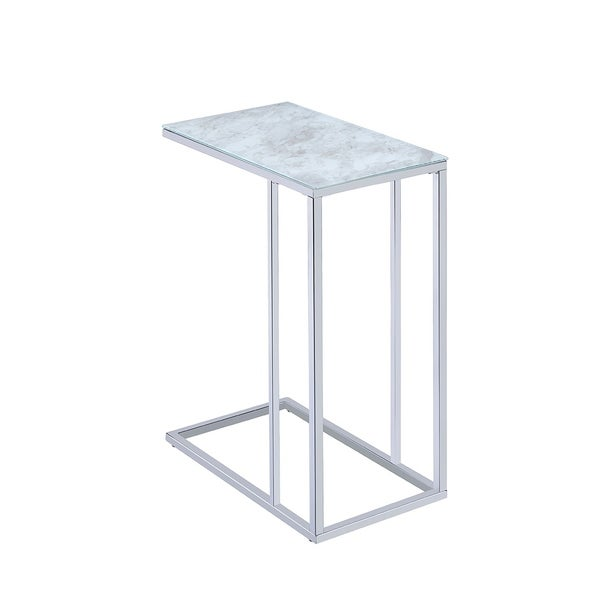 Ruston Faux Marble and Metal Accent Table