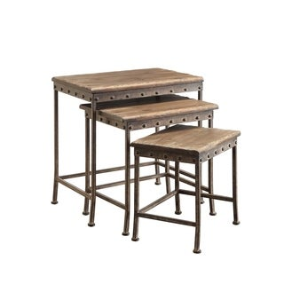 Crampton 3-piece Metal and Wood Nesting Table Set