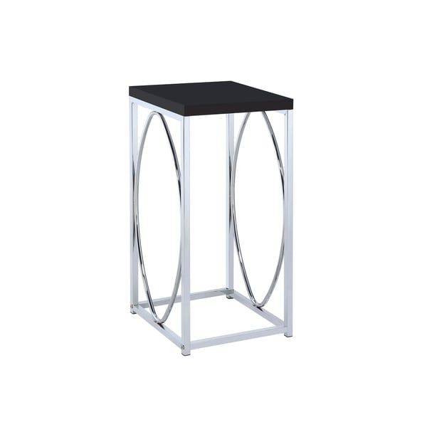Yvette Chrome and Black Accent Table