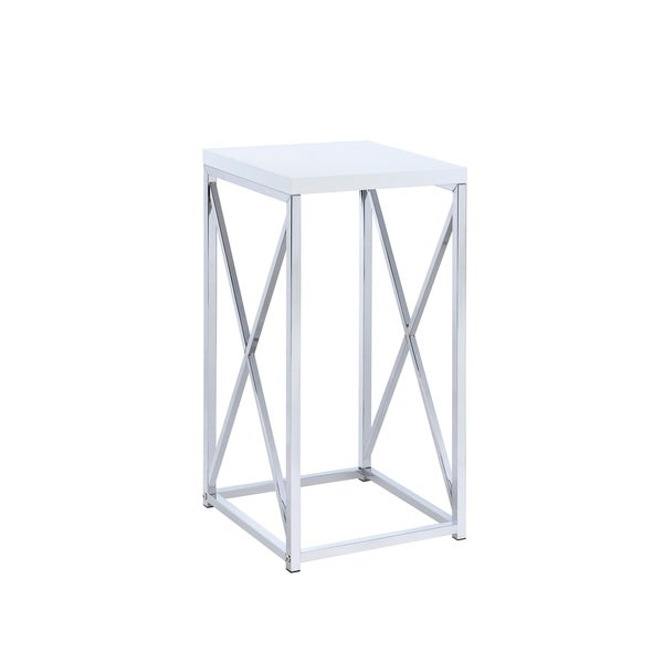 Selena Chrome and White Accent Table