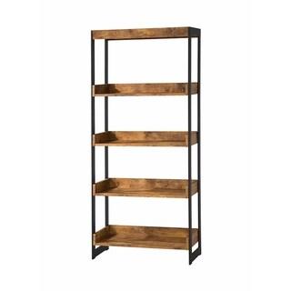 Kelly Industrial Antique Nutmeg Bookcase