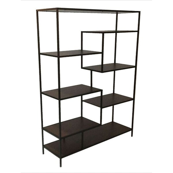 Shop Allegra Black/Brown Metal Modern Open-back Bookcase ...