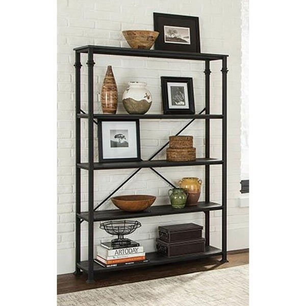 Shop Lunette Industrial Dark Grey Bookcase Free Shipping