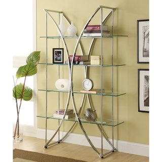 Strick & Bolton Sakai Chrome/ Glass Bookshelf