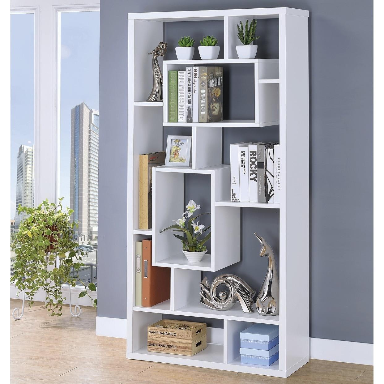 Copper Grove Sucy 10 Shelf Modern Geometric Bookcase