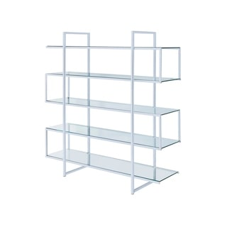Kian Chrome Clear/ Black Metal/ Glass Contemporary Bookcase