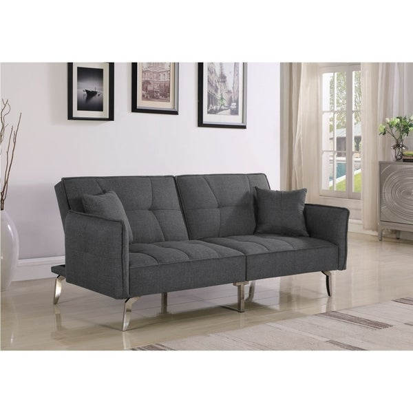 Super Hope Modern Grey Fabric Upholstery And Chrome Sofa Bed Home Remodeling Inspirations Gresiscottssportslandcom