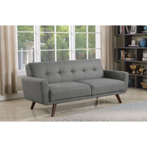 Ophelia Mid-century Modern Grey and Walnut Sofa Bed