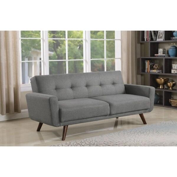 Shop Ophelia Mid-century Modern Grey And Walnut Sofa Bed