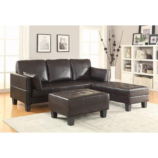 Shop Everley Brown Faux Leather Contemporary Sofa Bed - On Sale ...