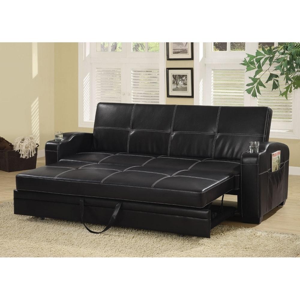 Amelia Contemporary Black Vinyl Sofa Bed