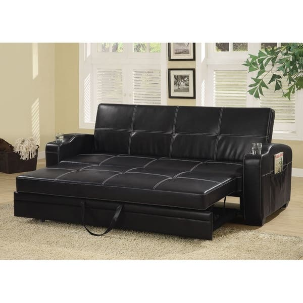 Magnificent Shop Amelia Contemporary Black Vinyl Sofa Bed Free Dailytribune Chair Design For Home Dailytribuneorg
