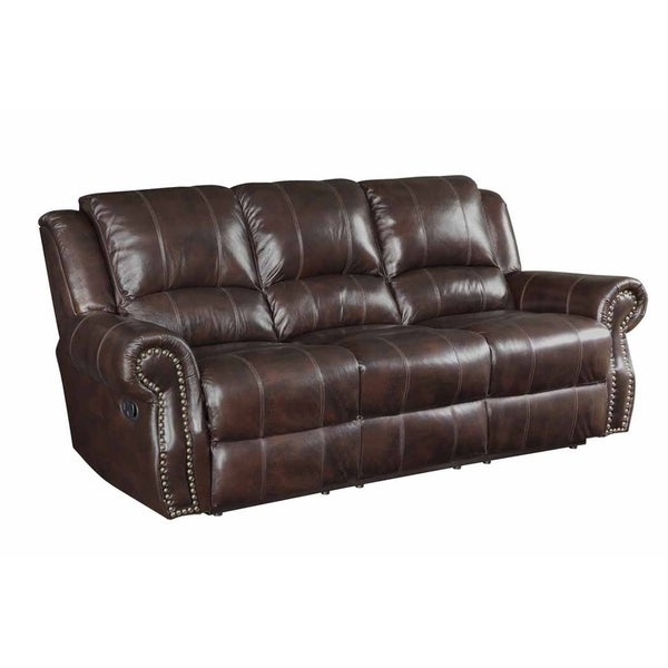 Shop Everett Burgundy Brown Reclining Sofa - On Sale - Free Shipping ...